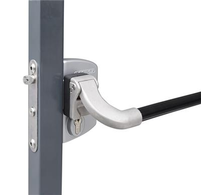 Surface mounted anti-panic gate lock